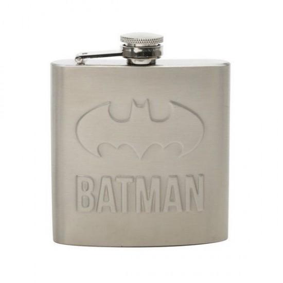 Cantil Aço Inox Batman Embossed Logo Prata 170ml
