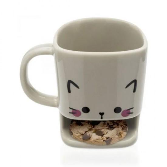 Caneca Porta Biscoitos Gato