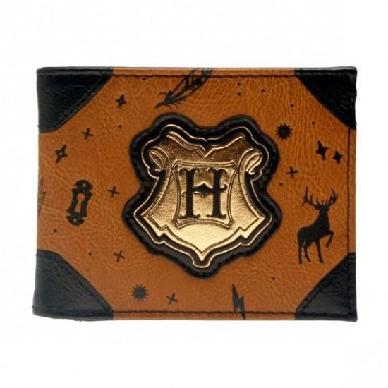 Carteira Harry Potter Brown Leather Hogwarts Symbols