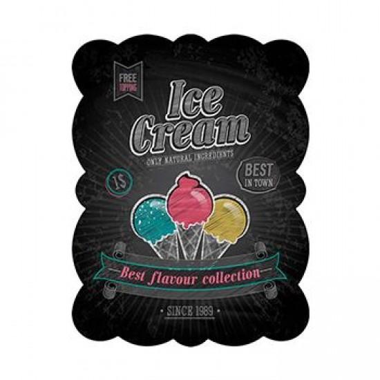 Placa Metal Ice Cream Preto 33 x 25