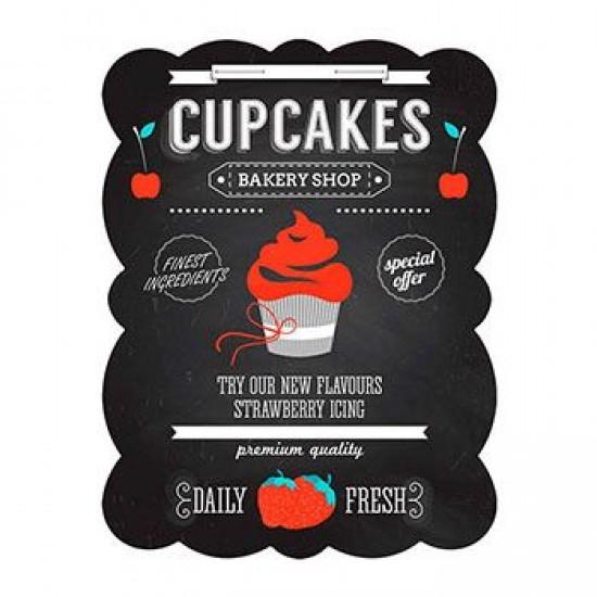 Placa Metal Cupcake Preto 33 x 25