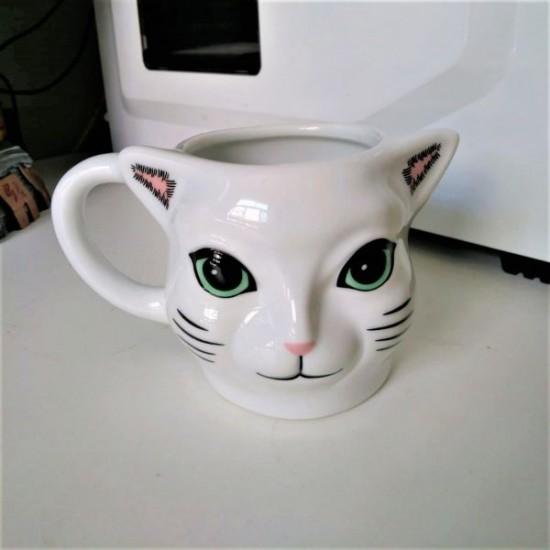 Caneca 3D Gato Realista Branco