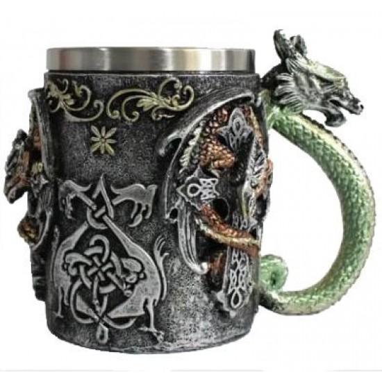 Caneca 3D Resina Dragão Verde