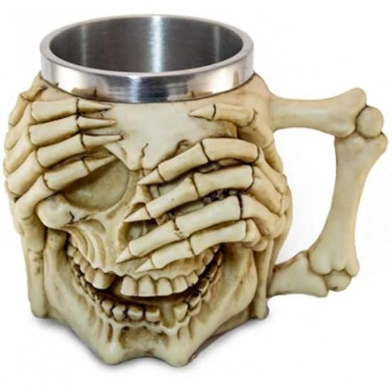 Caneca 3D Resina Caveira e Mãos