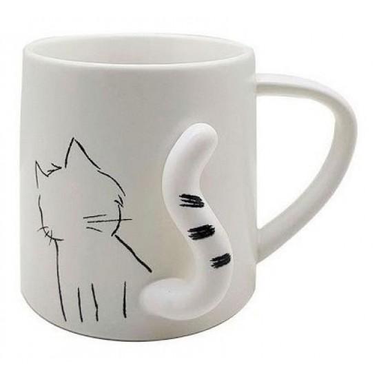 Caneca Gato Rabo Branco 3D