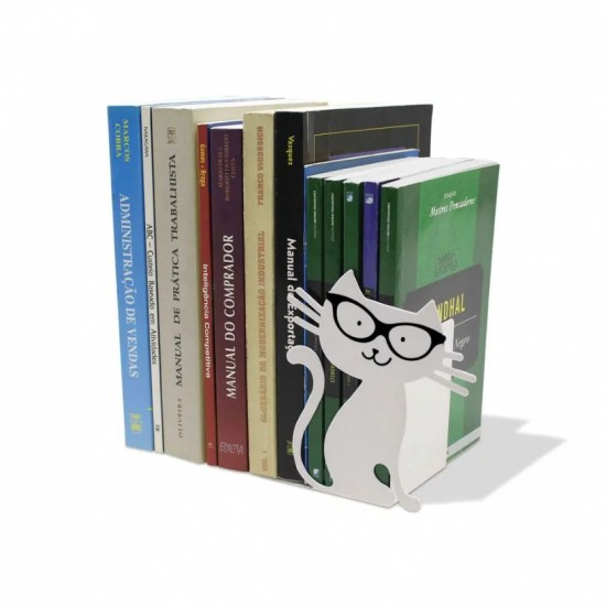 Aparador de Livros Gato Branco