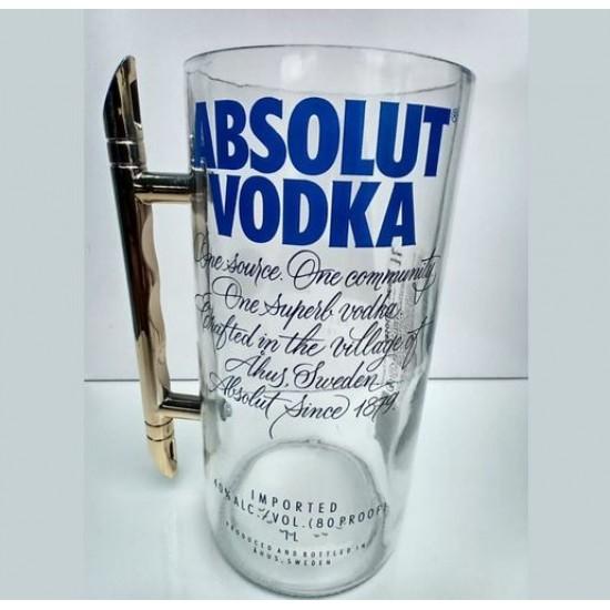 Caneca de Vidro Garrafa Vodka Absolut