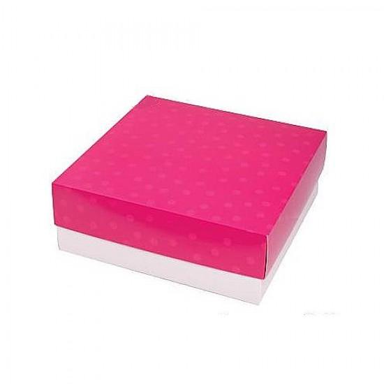 Caixa de Presente M - Poá Pink