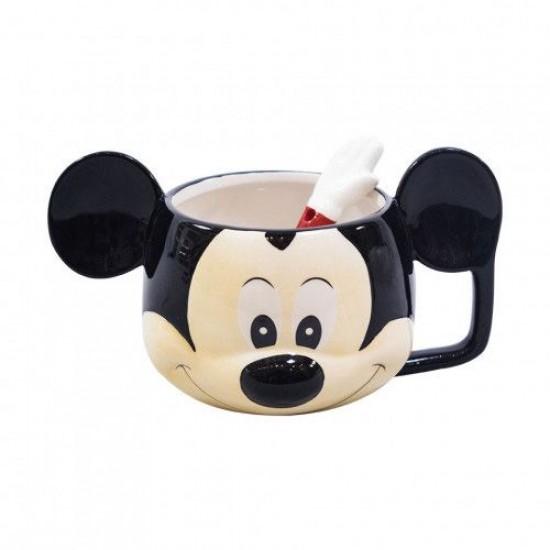 Caneca de Porcelana c/ Colher Rosto Mickey