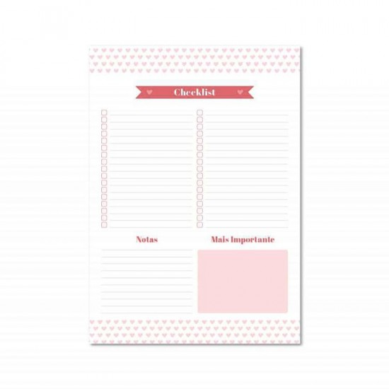 Bloco A4 Pink Stone - Checklist