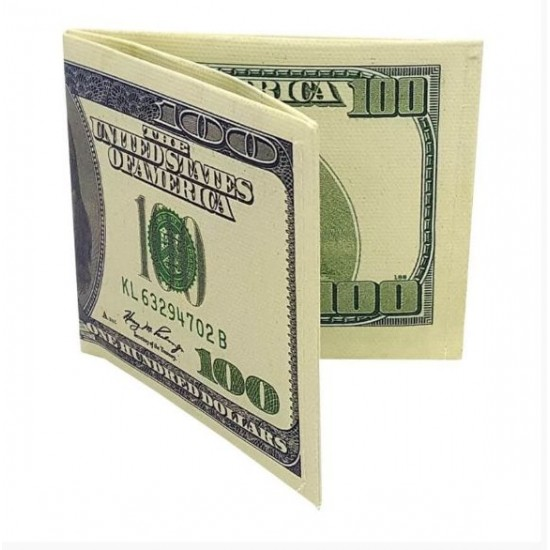 Carteira Slim Nota de 100 Dólares Antiga