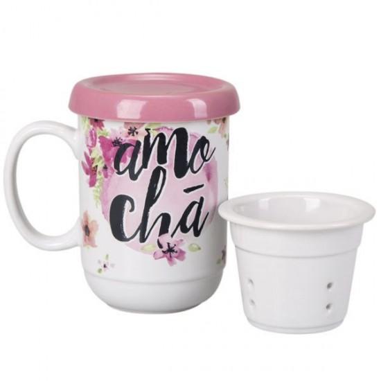 Caneca c/ Infusor - Amo Chá