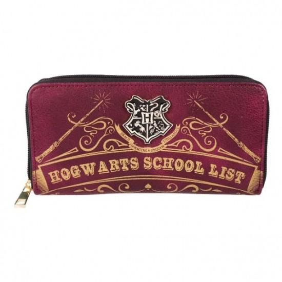 Carteira Retangular c/ Zíper - Hogwarts School List
