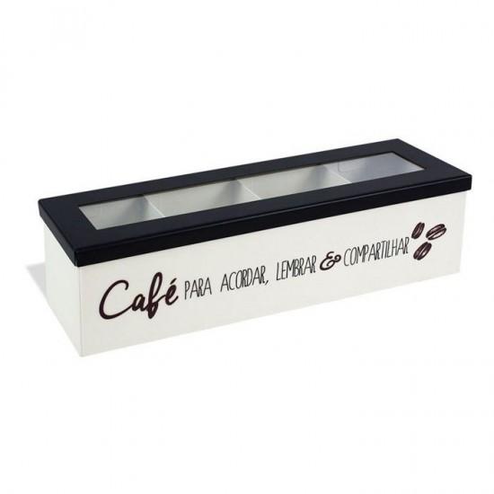 Caixa de Aço Porta Cápsulas Café Para Acordar
