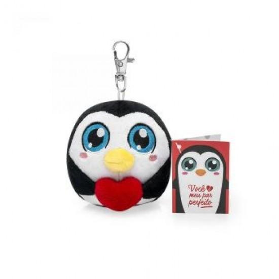 Almofada Chaveiro Pompets Amor Pinguino