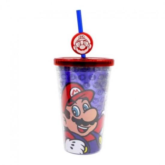 Copo Canudo c/ Pingente 500ml Mario