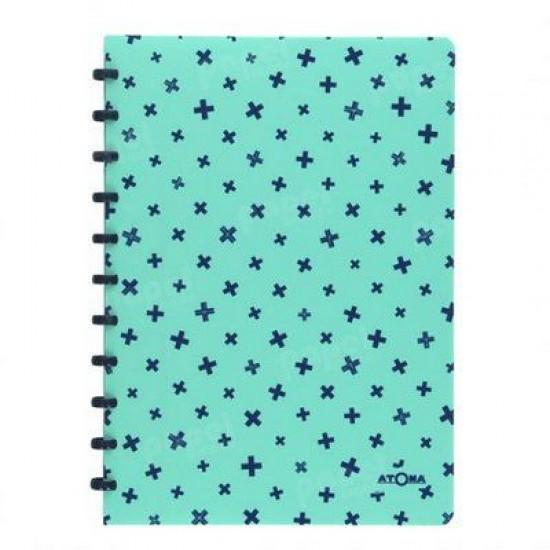 Caderno Atoma Pastel A4 Branco Pautado - Azul Marinho e Verde Plus