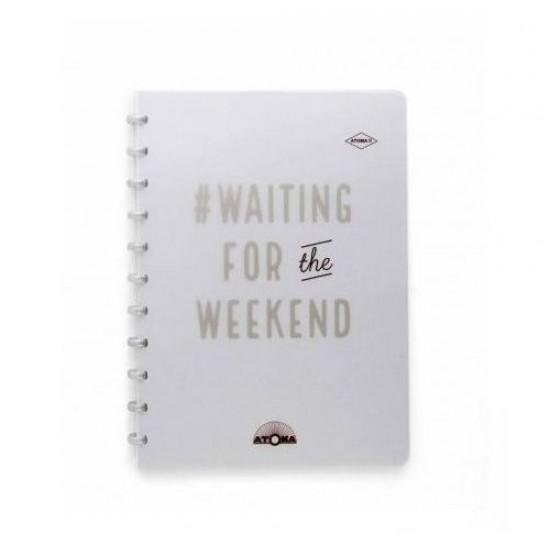 Caderno Atoma Happy 70 A4 Branco Pautado - Prata Weekend