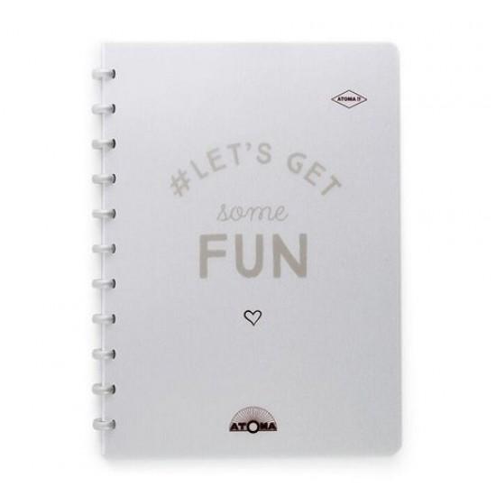 Caderno Atoma Happy 70 A4 Branco Pautado - Prata Fun