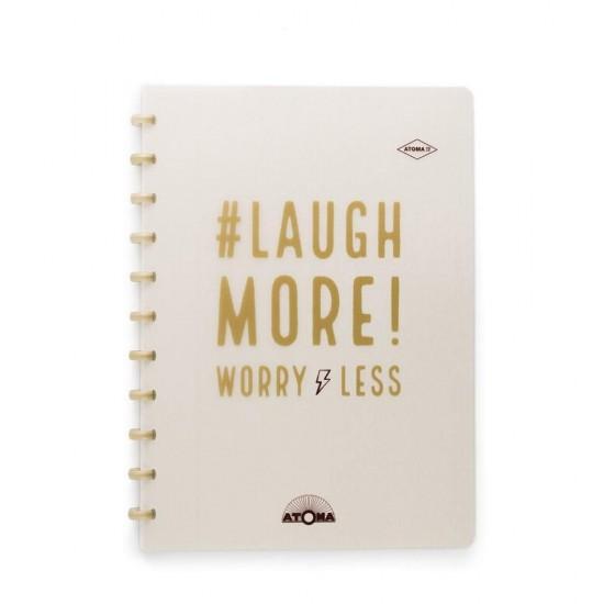 Caderno Atoma Happy 70 A4 Branco Pautado - Ouro Laugh