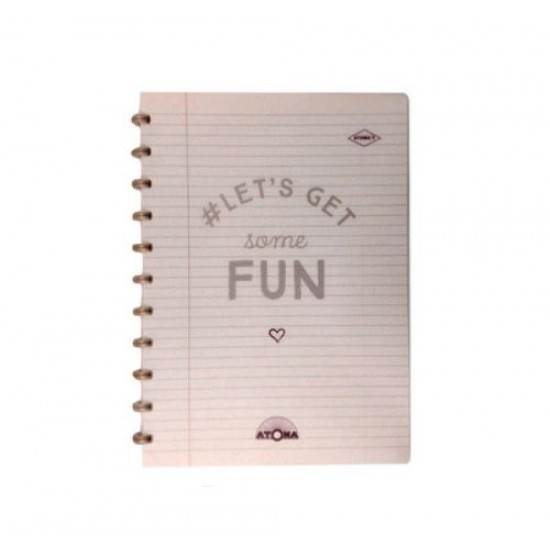Caderno Atoma Happy 70 A4 Branco Pautado - Bronze Fun