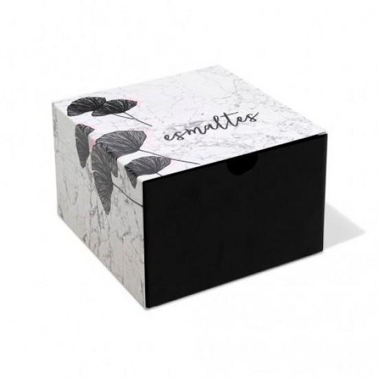 Caixa de Aço p/ Esmaltes Mármore Branca