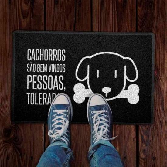 Capacho 60x40cm Cachorros São Bem Vindos Preto