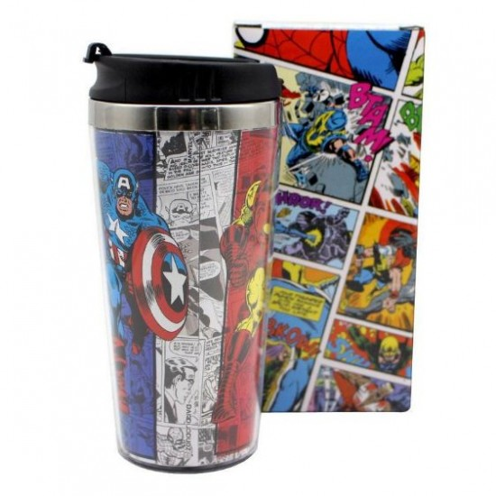 Copo Viagem c/ Tampa 450ml Avengers Comics