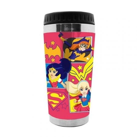 Copo Térmico Plástico Heroes Fighting Rosa 500ml
