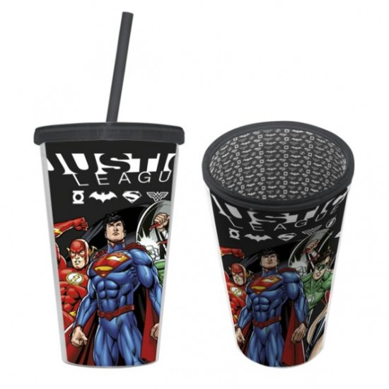 Copo Canudo Plástico Justice League Preto 500ml