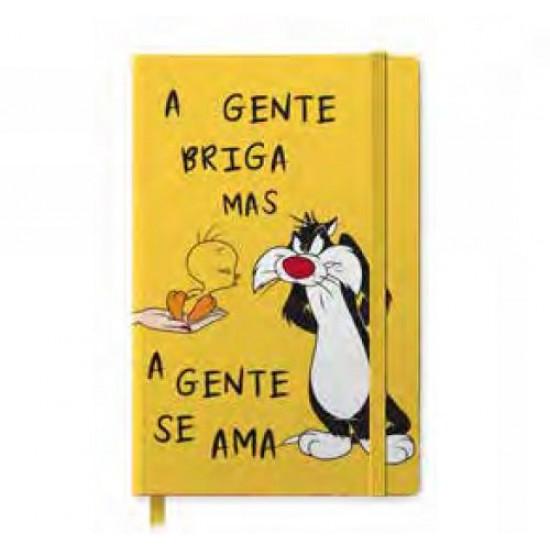 Caderneta de Anotação Looney Tunes Silvestre And Tweety Amarelo A5