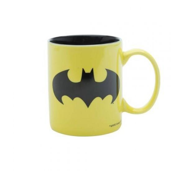 Caneca Porcelana Amarela Batman Logo