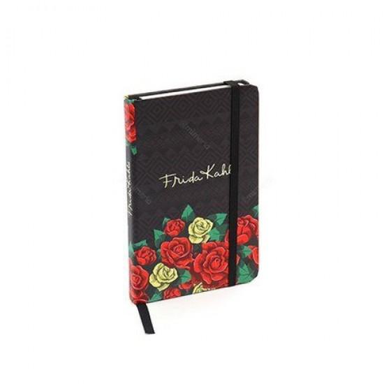 Caderneta de Anotação Frida Colored Flowers Preto A6
